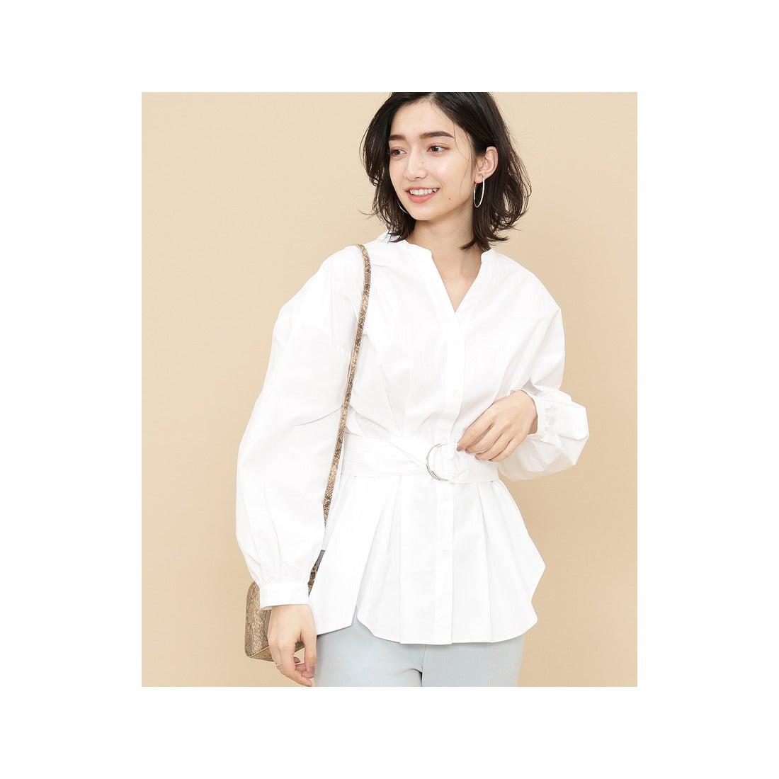 ADAM ET ROPE' ウエストタックベルトシャツ(ホワイト(10))