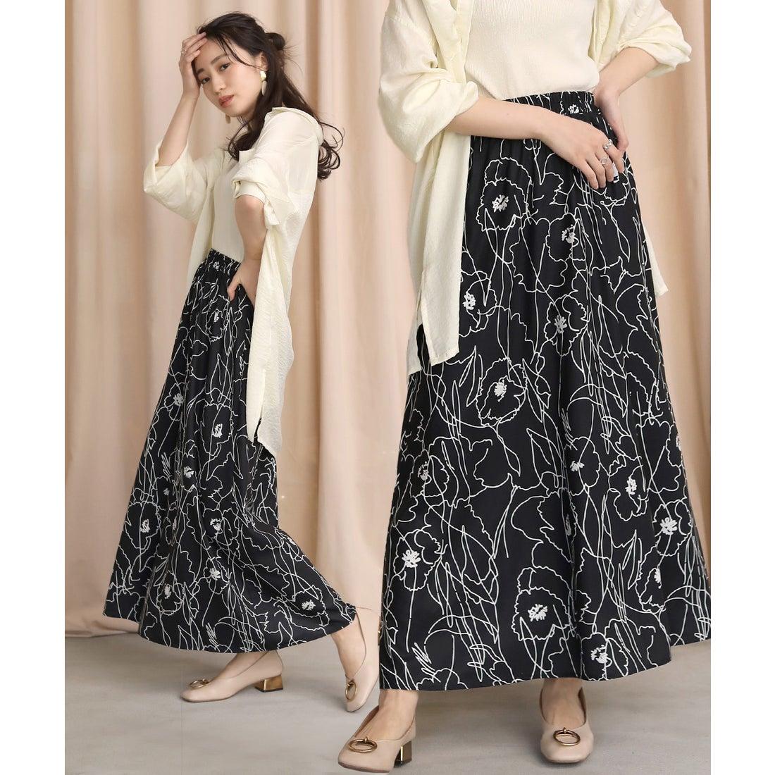 ロコンド 靴とファッションの通販サイトBou Jeloud 新色登場◆アートフラワースカート(ブラック)【返品不可商品】