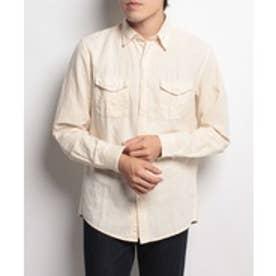 BENETTON (mens) コットンリネンロールアップシャツUDDWS2(クリーム)【返品不可商品】
