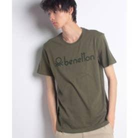 BENETTON (mens) クラシックロゴ半袖Tシャツ・カットソー(カーキ)【返品不可商品】