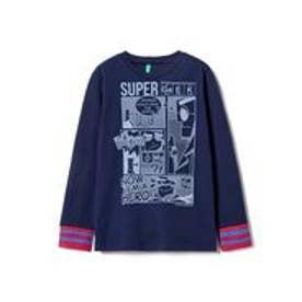 BENETTON (UNITED COLORS OF BENETTON (BOYS) KIDSボーダー柄カフスプリント長袖Tシャツ・カットソー(ネイビー)【返品不可商品】