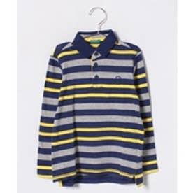BENETTON (UNITED COLORS OF BENETTON (BOYS) KIDSボーダー柄長袖ポロシャツ(ネイビー)【返品不可商品】