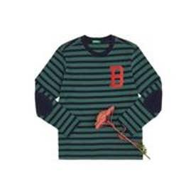 BENETTON (UNITED COLORS OF BENETTON (BOYS) 【BOYS】配色ボーダーエルボーパッチ長袖Tシャツ・カットソー(グリーン)【返品不可商品】