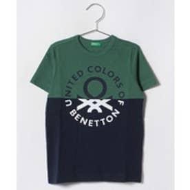 BENETTON (UNITED COLORS OF BENETTON (BOYS) バイカラーロゴ半袖Tシャツ・カットソー(グリーン)【返品不可商品】