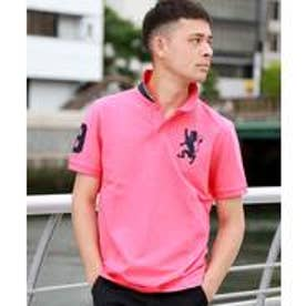 GIORDANOM 3Dライオン刺繍ポロシャツ(ピンク)【返品不可商品】