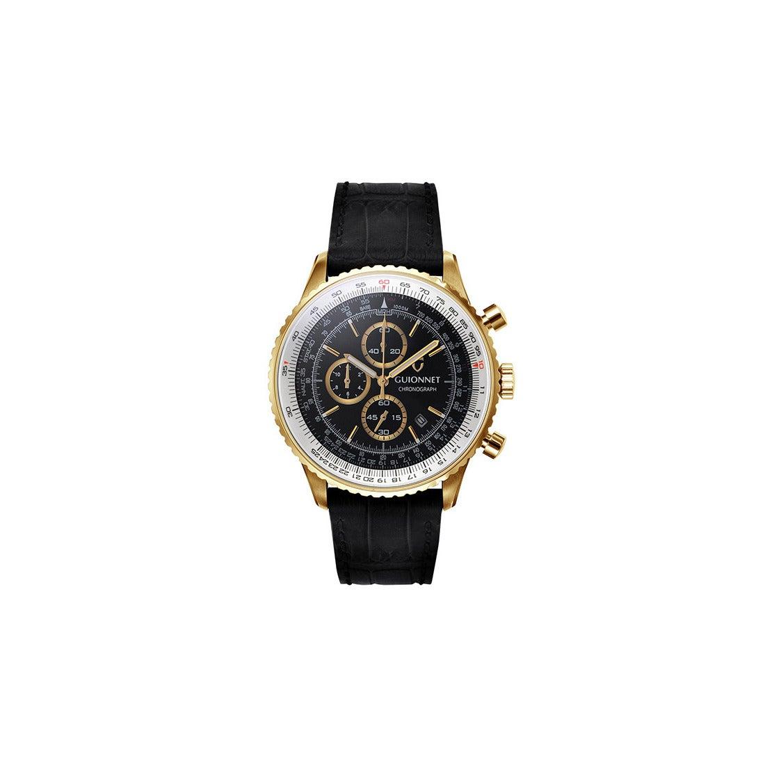 51a5c1f190 GUIONNET GUIONNET Flight Timer Professional 腕時計 FT44SSV メンズ(ブラック/ゴールド)  -靴&ファッション通販 ロコンド〜自宅で試着、気軽に返品