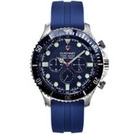 GUIONNET GUIONNET HYDROMASTER 300M防水クロノ 腕時計 メンズ(ネイビー×シルバー)【返品不可商品】