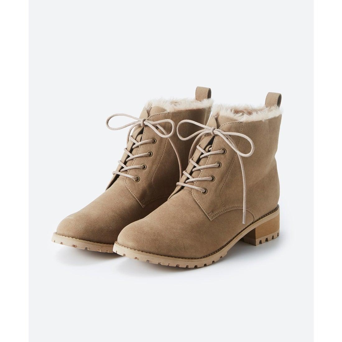 ロコンド 靴とファッションの通販サイトhaco! あったか&かわいいを叶えてくれる ふわふわ編み上げブーツ(ベージュ)