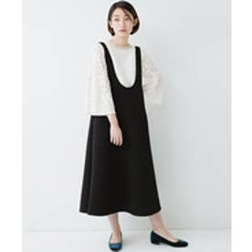 haco! ふんわり感がレトロ可愛い フレアージャンパースカート(ブラック)