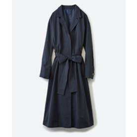 haco! パッと羽織ってかっこよく、きゅっと絞って女っぽい ウエストリボンロングコート(ダークネイビー)