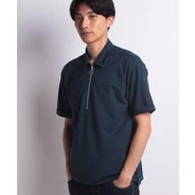 ikka ポンチハーフジップポロシャツ(グリーン)