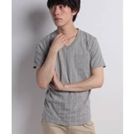 ikka ストライププリントVネックT(ライトグレー)【返品不可商品】