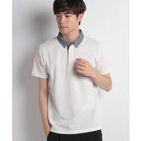 ikka 布帛襟ポロシャツ(ホワイト)【返品不可商品】