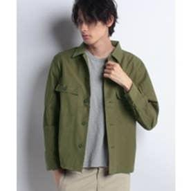 ikka ストレッチミリタリーシャツ(オリーブ)【返品不可商品】
