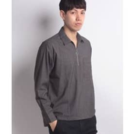 ikka 【Web限定】ハーフジップシャツ(グレー)【返品不可商品】