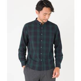ikka 無地チェックバンドカラーシャツ(ダークグリーン)【返品不可商品】