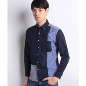 ikka ストライプチェック切り替えボタンダウンシャツ(ネイビー)【返品不可商品】