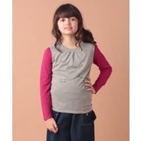 ikka kids 【キッズ】袖配色ロングTシャツ(100~150cm)(グレー)【返品不可商品】