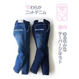 L.COPECK ニット風デニム9分丈パンツ(150〜160cm)(ブルーデニム)