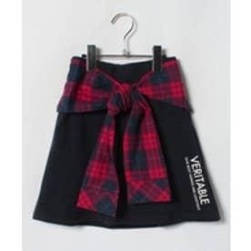 Lovetoxic チェックシャツウエスト巻き風裏毛台形スカパン(紺)
