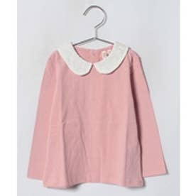 LAGOM レース衿長袖カットソー(ピンク)