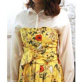 Noela 【CanCam5月号掲載】【セットアップ対応商品】オリジナルファーブル柄ビスチェSETシャツ(イエロー)【返品不可商品】
