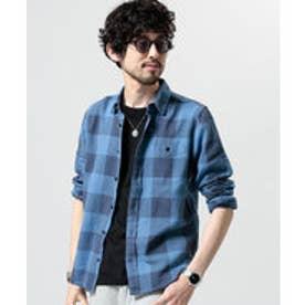 nano・universe 綿麻ブロックチェックシャツ(パターン3)【返品不可商品】