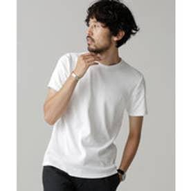 nano・universe Anti Soaked ヘビークルーワイドリブTシャツ(ホワイト)