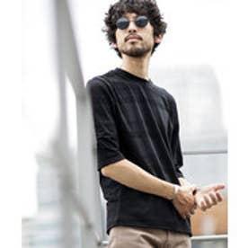 nano・universe 【WEB限定商品】∴coolMaxリンクスボーダー七分袖Tシャツ(ブラック)