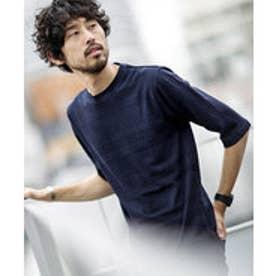 nano・universe 【WEB限定商品】∴coolMaxリンクスボーダー七分袖Tシャツ(ネイビー)