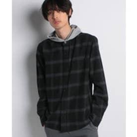 nano・universe :フーディーネルシャツ(ブラック)【返品不可商品】