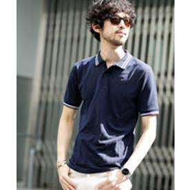 nano・universe 【WEB限定】∴ラインカラー刺繍ポロシャツSS(ネイビー)【返品不可商品】