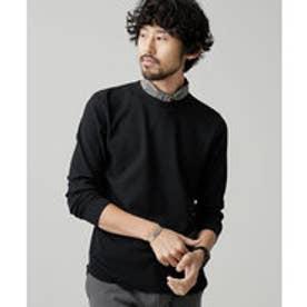 nano・universe ワッフルラウンドTシャツL/S(ブラック)