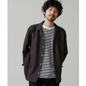 nano・universe 微起毛オープンカラーシャツ(ブラック)