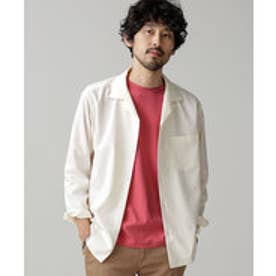 nano・universe 微起毛オープンカラーシャツ(ホワイト)