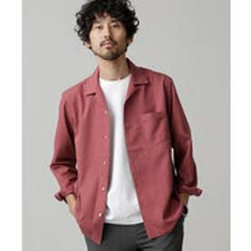 nano・universe 微起毛オープンカラーシャツ(ボルドー)