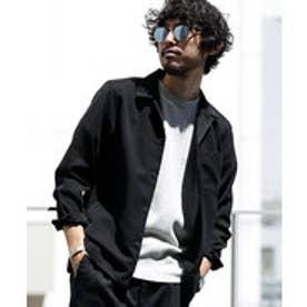 nano・universe 【WEB限定商品】∴微起毛オープンカラーシャツ LS(ブラック)