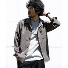 nano・universe 【WEB限定商品】∴微起毛オープンカラーシャツ LS(グレー)