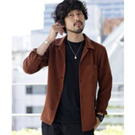 nano・universe 【WEB限定商品】∴微起毛オープンカラーシャツ LS(ブラウン)