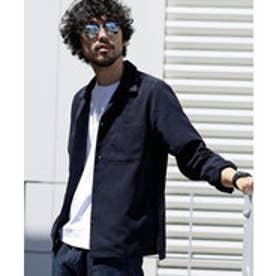 nano・universe 【WEB限定商品】∴微起毛オープンカラーシャツ LS(ネイビー)
