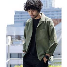 nano・universe 【WEB限定商品】∴微起毛オープンカラーシャツ LS(カーキ)