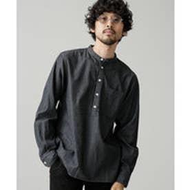 nano・universe バンドカラーPOデニムシャツ(ブラック)
