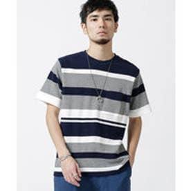 nano・universe インレイパネルボーダーTシャツ(パターン4)【返品不可商品】