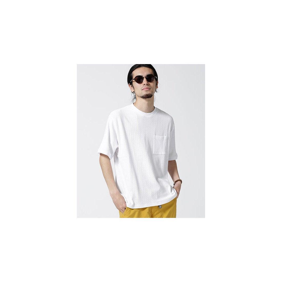 nano・universe ジャガードサーマル風梨地ビッグTシャツ(ホワイト)【返品不可商品】