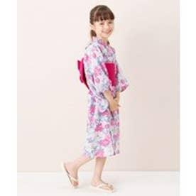 petit main 牡丹柄浴衣×帯セット(ピンク)【返品不可商品】