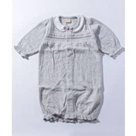 petit main スカラップ衿つきスモッキング2WAYカバーオール(トップグレー)【返品不可商品】