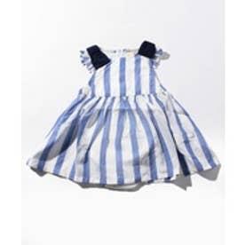 petit main 肩リボンストライプワンピース型ロンパース(ブルー)【返品不可商品】