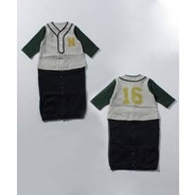 petit main ベースボールユニホーム2WAYオール(トップグレー)【返品不可商品】
