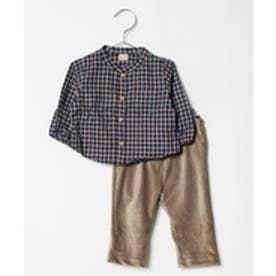 petit main チェックシャツ×コーデュロイパンツセット(カラシ)【返品不可商品】