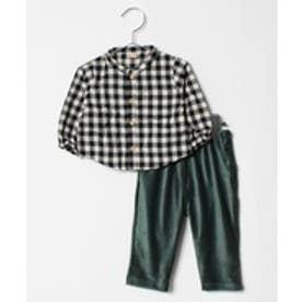 petit main チェックシャツ×コーデュロイパンツセット(グリーン)【返品不可商品】
